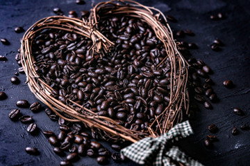 roasted coffee beans in heart shaped basked
