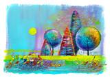 Round trees, painting.