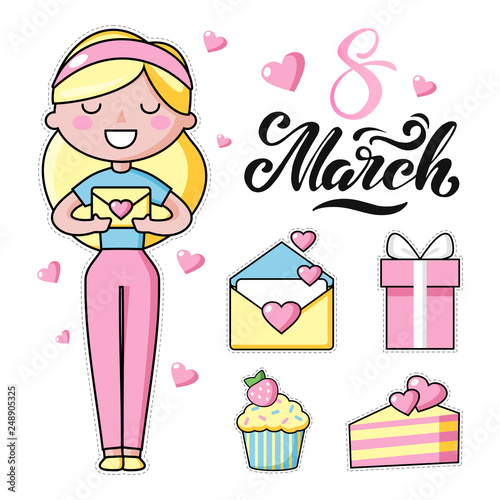 Set of Cute kawaii objects, girl with long blond hair and hearts. Love. International Women's Day. Rainbow happy colors. Beautiful vector illustration for greeting card/poster/sticker.  - 248905325