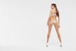 Beautiful sexy slim woman on white background
