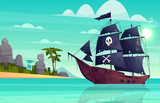 Vector cartoon pirate ship on water, sand beach of the bay. Wooden boat with black sails, cannons goes to the island. Corvette or frigate with skull and bones flag at sea, ocean. Old battleship, barge
