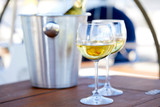 Pair of wineglasses against the yacht - 248912354