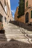 Fototapeta Na drzwi - Eine enge mediterrane Treppengasse führt Aufwärts © levelupart