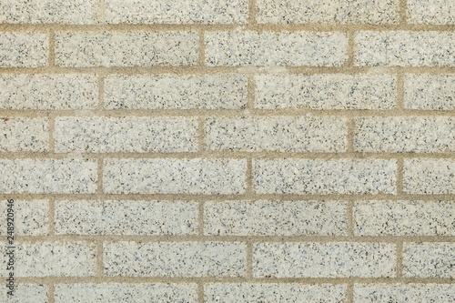 Special natural white bricks paired with yellow cement-lime mortar, Beige wall made of rustic bricks - 248920946
