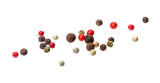 Pepper mix. Black, red, white and allspice peppercorn seeds isolated on white background - 248922589