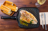 Delicious grilled bass with asparagus - 248929984