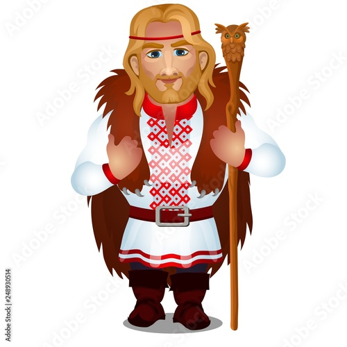 Slavic man in embroidered shirt or vyshyvanka with bear skin and a magic staff isolated on white background. Vector cartoon close-up illustration. © Lady-Luck