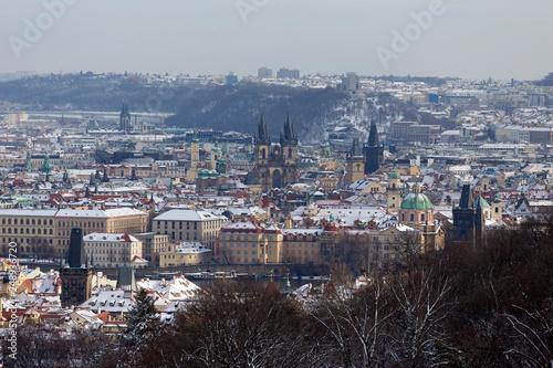 fototapeta na ścianę Snowy Prague City from Hill Petrin, Czech republic