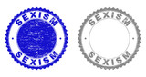 Grunge SEXISM stamp seals isolated on a white background. Rosette seals with grunge texture in blue and grey colors. Vector rubber stamp imprint of SEXISM label inside round rosette. - 248939580