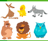 funny animal characters cartoon set