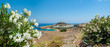 Panoramic view over Lindos village with ruins of ancient Acropolis. Island of Rhodes. Greece. Europe.