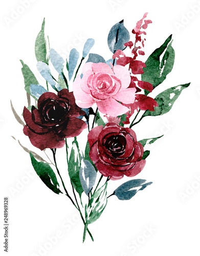 Flowers watercolor painting, pink and burgundy roses bouquet for greeting card, invitation, poster, wedding decoration and other printing images. Illustration isolated on white.