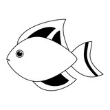 Fish sea animal cartoon in black and white