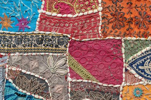 Detail old patchwork carpet, India. Close up © OlegD