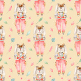 Watercolor Easter seamless pattern with cute bunny with flowers. Texture for wallpaper, packaging, fabric, baby design, easter design, textile.