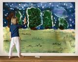 Little girl having fun drawing on a wall - 248989518