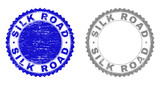 Grunge SILK ROAD stamp seals isolated on a white background. Rosette seals with grunge texture in blue and gray colors. Vector rubber watermark of SILK ROAD tag inside round rosette. - 249004571