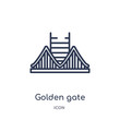 golden gate icon from united states outline collection. Thin line golden gate icon isolated on white background.