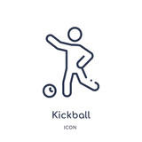 kickball icon from sport outline collection. Thin line kickball icon isolated on white background.
