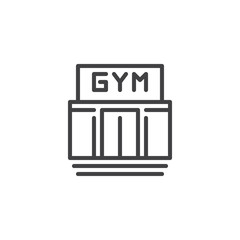 Gym building line icon. linear style sign for mobile concept and web design. Sport club outline vector icon. Fitness symbol, logo illustration. Pixel perfect vector graphics