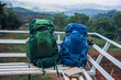 Quadro Backpacks and books placed at the viewpoint on the mountain, the of ​​fog Travel to study nature