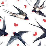 Watercolor swallow pattern - 249015154