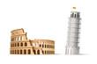 Vector famous italian landmark pisa tower coliseum