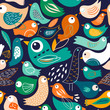 Seamless pattern with abstract birds - 249024947