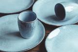 Handmade blue set of ceramic tableware. Espresso cups and plates. - 249029306