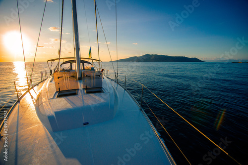 .bright and warm dawn aboard a luxurious yacht
