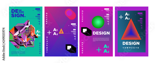 Abstract Geometric Collage Poster Design Template in Trendy vivid colors - 249035974