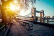 A boulevard next to the river Thames with Tower Bridge in the distance - 249041593