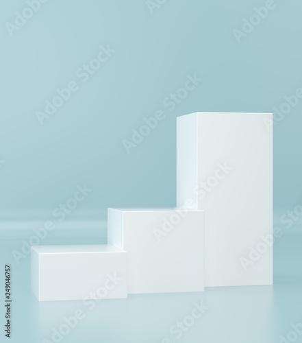 Empty box pedestal for display. Platform for design. Pastel color