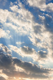 Clouds and sunrays at sunrise - 249047970