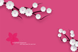 Abstract branches with white flowers and pink background
