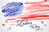 Abstract watercolor american flag - Labor day