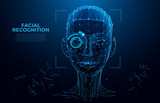 Face Recognition. Cyber women, Robot face. Facial Recognition System concept. biometric scanning, 3D scanning. Face ID. Identification of a person. Polygon vector wireframe concept