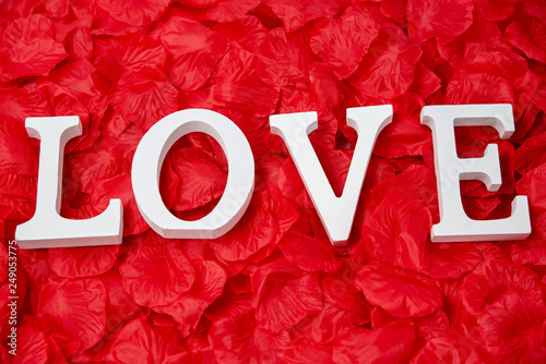 Foto Murales Mot love sur fond de pétales de roses rouges