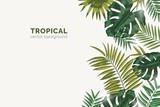 Summer paradise background with exotic palm tree branches and tropical Monstera leaves. Natural horizontal backdrop with foliage of rainforest jungle plants. Realistic botanical vector illustration. - 249055731