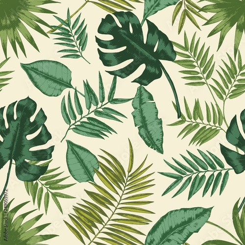 Hawaiian seamless pattern with exotic foliage. Tropical backdrop with leaves of jungle plants and palm branches. Natural realistic vector illustration for fabric print, wrapping paper, wallpaper.