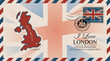 Vector postcard or envelope with map of Great Britain, UK flag and inscription I love London. Retro postcard with postmark in form of royal coat of arms and postage stamp with flag of United Kingdom
