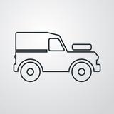 Icono plano lineal silueta vehículo todoterreno en fondo gris