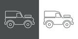 Icono plano lineal silueta vehículo todoterreno en gris y blanco