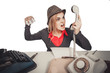Angry business woman shouting into telephone isolated on white  background