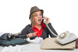 Office, business,detective concept-Angry Business Woman shouting into telephone