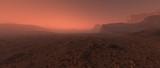 Bare rough rocky mars terrain in fog. - 249064135