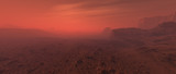 Bare rough rocky mars terrain in fog. - 249064140