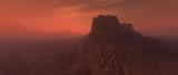 Bare rough rocky mars terrain in fog. - 249064144