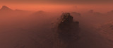 Big rock in bare rough rocky mars terrain in mist. - 249064146