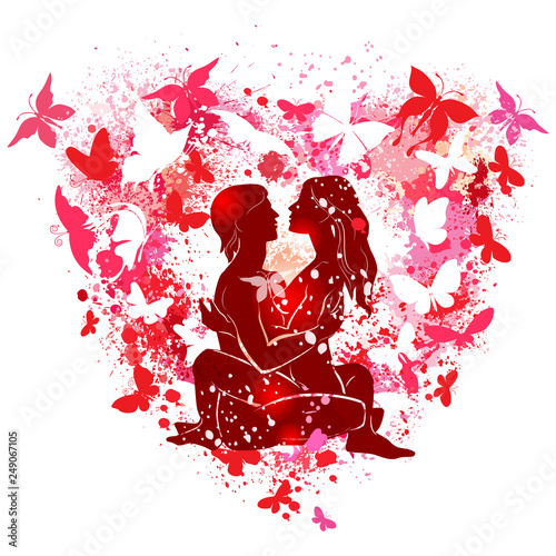 Couple on the on the background of the shape of a heart - 249067105